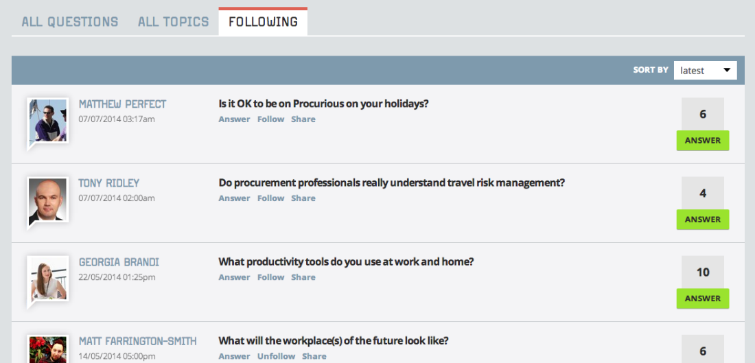 The Procurious Discussions page