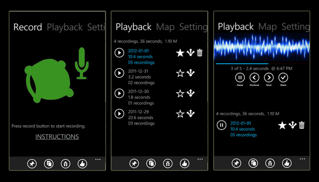 Sleep Recorder app for Windows Phone